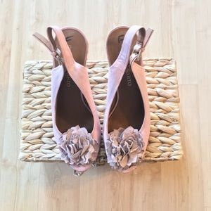 Pink Leather Peep Toe/ Sling Back Espadrille